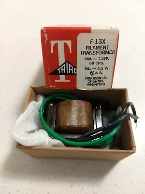 Triac Filament Transformer Model F 13x 115vac To 6.3 Vac 0.6 Amps Nib Nos