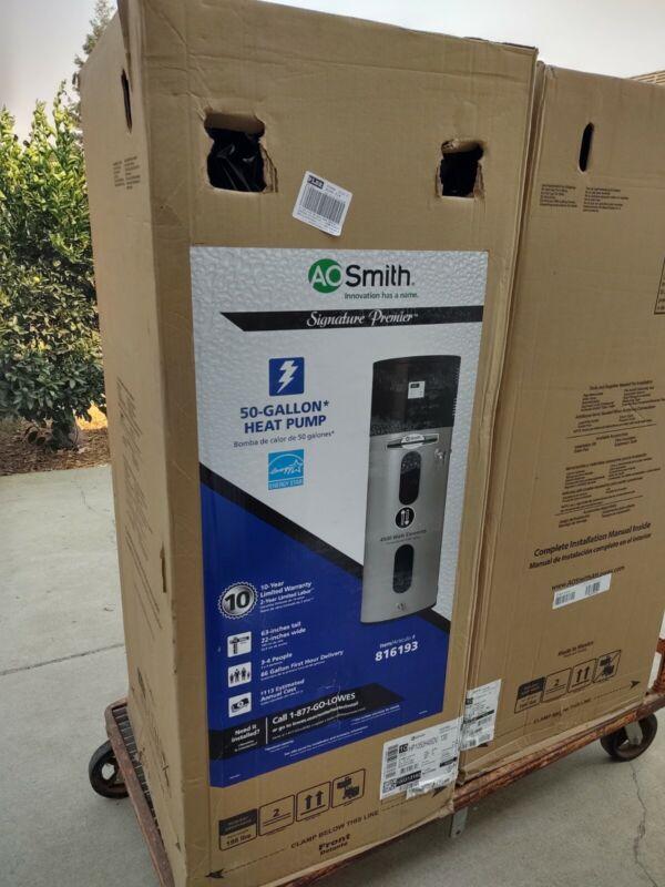 A.O. Smith 50-Gal Signature 4500w Electric Water Heater Hybrid Heat Pump Cali