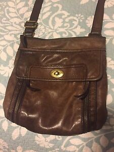 Brown leather Fossil cross-body purse