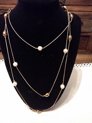 Pearl Like Beaded Necklace - Beautiful Necklace With Gold White Beads like pearls long 30 inches..