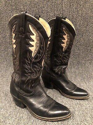 Vintage Acme Black/White Fancy Floral Stitch Cowboy Boots Womens Size 7 Narrow