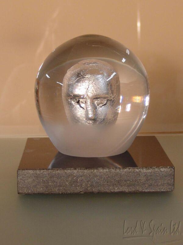Kosta Boda Bertil Vallien HEADMAN Head/Mask Clear Orb Sculpture