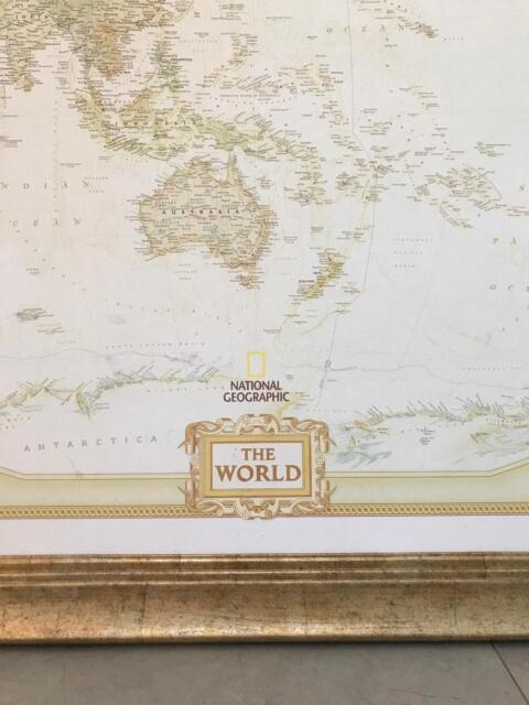 National Geographic Framed World Map Other Antiques Art