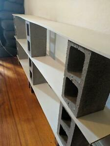 Long Cinderblock Bookshelf