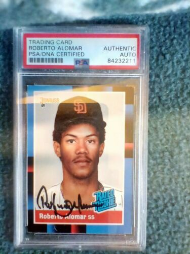 1988 Donruss #34 Roberto Alomar Hof Hand Signed  Rookie Card PSA Authenticated