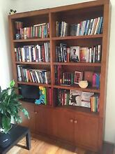 GOURGEOUS TEAK DOUBLE BOOKCASE WITH BUILT IN CABINETS Bronte Eastern Suburbs Preview