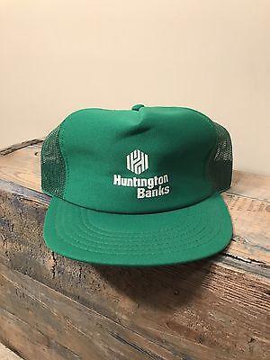 Vintage Huntington Bank Green Mesh Trucker Hat Snapback Employee Golfing Cap Euc