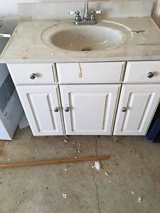 Bathroom counter and cabinet