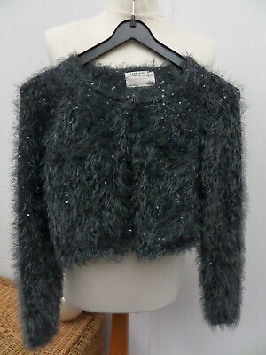 Girls Zara Sparkly, Glittery, Fluffy, Silver Grey Knit Cardigan Age 8