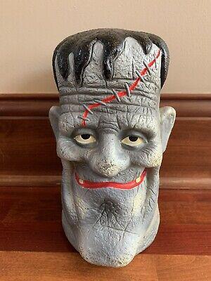 """Vintage Paper Magic 11"""" Halloween Frankenstein Head Plastic Blow Mold Monster"""