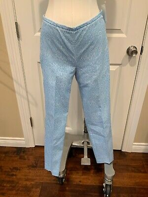 J. McLaughlin Light Blue Paisley Damask Pants, Size 0