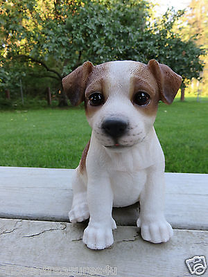 "JACK RUSSELL TERRIER PUPPY SITTING DOG FIGURINE STATUE RESIN PET 6.5"" H ORNAMENT for sale  Pembina"