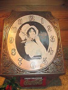 RARE-Collectible-Vintage-Original-COCA-COLA-Clock-Victorian-Woman-Simulated-Wood