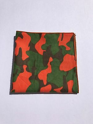 Green Brown And Orange Camo Print Flannel Pocket Square with Orange Trim