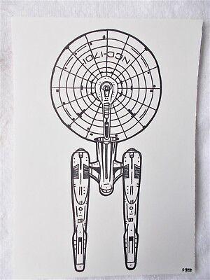 A4 Art Marker Pen Sketch Drawing USS Enterprise Plan from Star Trek Poster