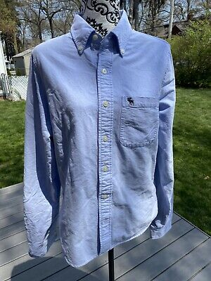 mens abercrombie and fitch Blue button down shirt Size Large