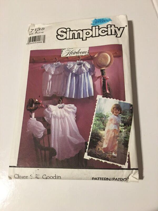 UNC Sz 1 - 4 Oliver Goodin Heirloom Dress Romper Bonnet Simplicity 7135 Pattern