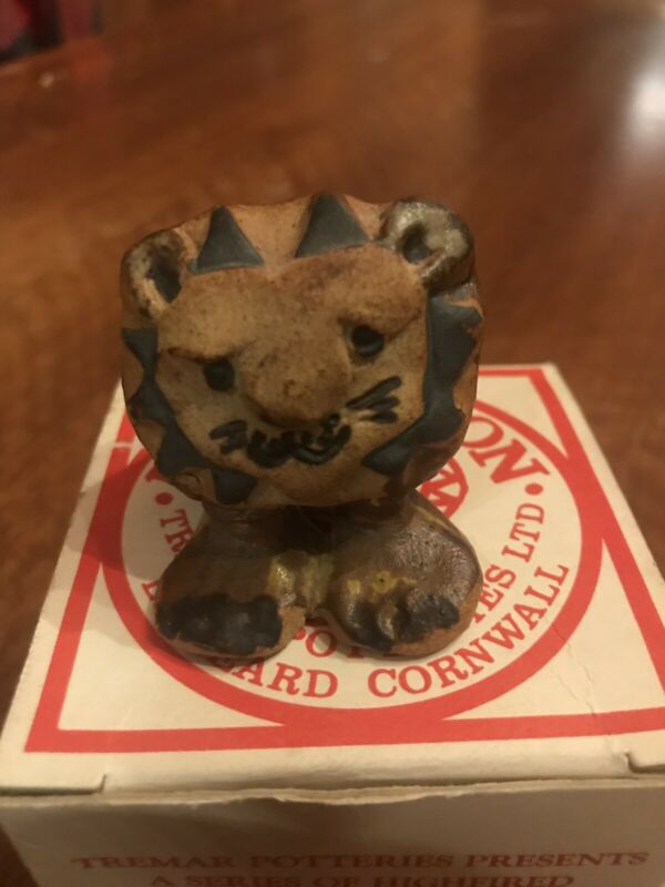 Tremar Pottery Baby Lion.  In Box  Figurine Miniature Midcentury Animal