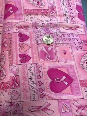 Pink Ribbon Fabric Hearts Breast Cancer Awareness 1766 Breast Cancer Awareness Fabric