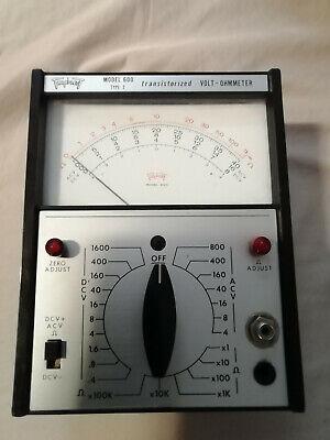 Vintage Triplett Model 600 Type 2 Volt Ohm Meter Transistorized Vom Dc Ac