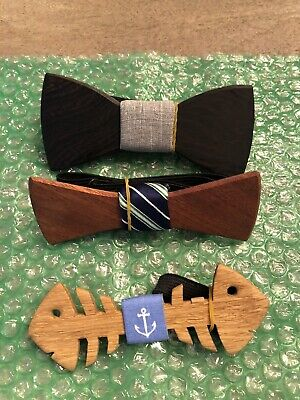 Wooden Bow Tie, Trio, Two Guys Bow Ties, Look cooler than James Bond, (Bad Ass Coolers)