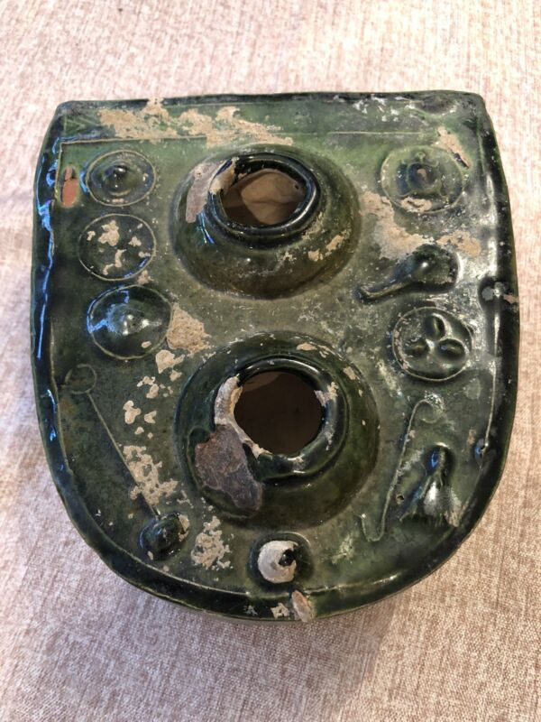 Antique  Chinese Green Glaze Pottery Ceramic Han Dynasty Burial Stove Model