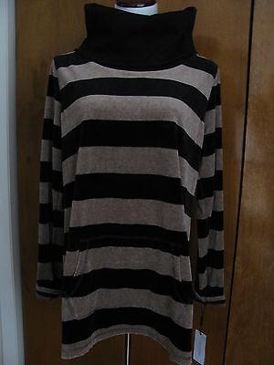 Calvin Klein Women's Brown Black Velour Sportswear Long Sweater Xlarge NWT ()