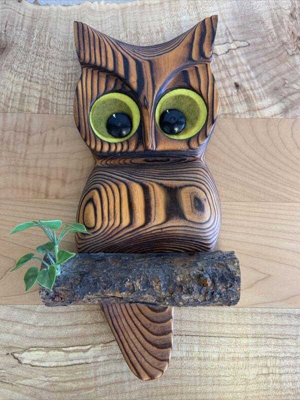"Vintage Carved Wood Owl Wooden Wall Hanging Bird Plaque 12"" Boho Decor"