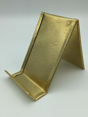 Round Hammered Vertical Brass Business Card Holder Made In Usa Anniversary Gift