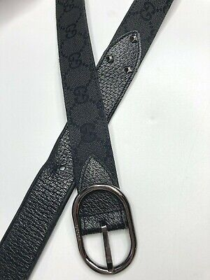 GUCCI VINTAGE GUCCISSIMA GG CANVAS LEATHER STUDDED BELT MEN BLACK SILVER ITALY