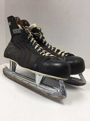 00bde8cd920 Vintage CCM Falcon Ice Hockey Skates senior 11 With Box and Leather Skate  Guards