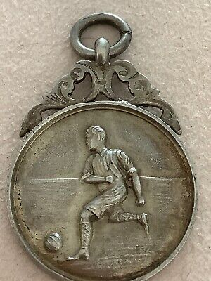 Antique Solid Silver Albert Pocket Watch Chain Fob / Football Medal - c1926.