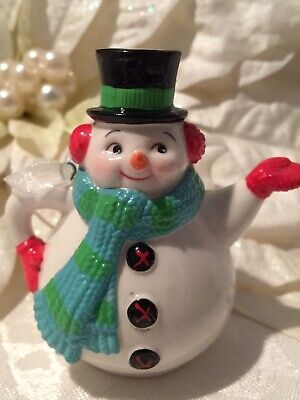 Hallmark Steeped In Spirit Teapot Snowman Christmas Ornament 2015 Club Exclusive