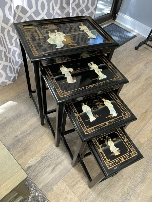Oriental Asian Black Lacquer Wood Nesting Tables Set of 4