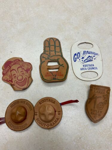 Lot of 6 Leather Neckerchief Slides - Kootaga Area Council