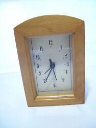 Vintage Natural Wood Desk Clock New Quartz Movement 6 1/2 x 4 1/2
