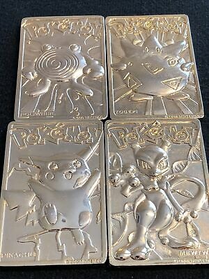 Set Of 4 Burger King Pokémon 23k Gold Plated Collectors Cards: Pikachu, Mewtwo