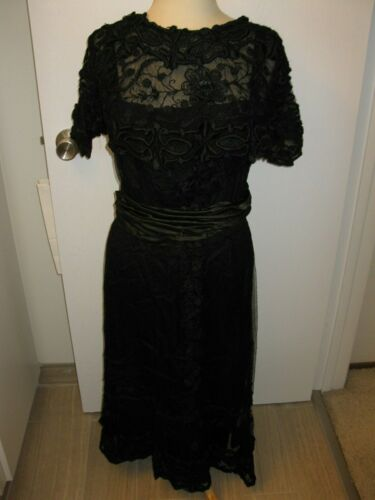 EXQUISITE ANTIQUE BLACK TAMBOUR LACE  AND SILK FRENCH  EDWARDIAN DRESS 1900