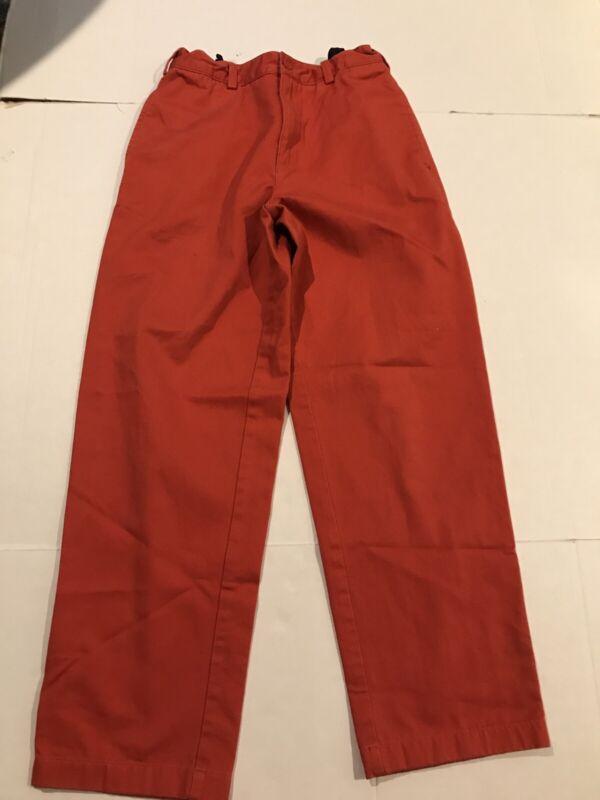 Lands End Boys Chino Khaki Pants Salmon Red Sz 14 100% Cotton EUC Flex Waist