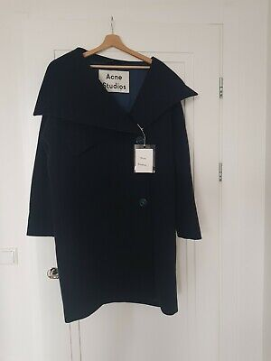 New Acne Studios Ciara Boiled Coat In Dark Blue Size 38 M
