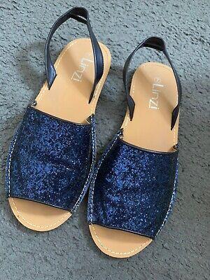 Navy Glitter Sandals Size 7