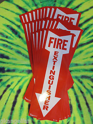 Lot Of 25-4 X 12 Self-adhesive Vinyl Fire Extinguisher Arrow Signs..new