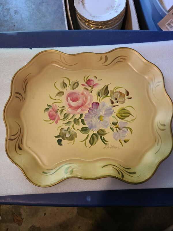 Vtg  Toleware Tan Metal Tray Hand Painted Flowers Signed La Verne 1920-50