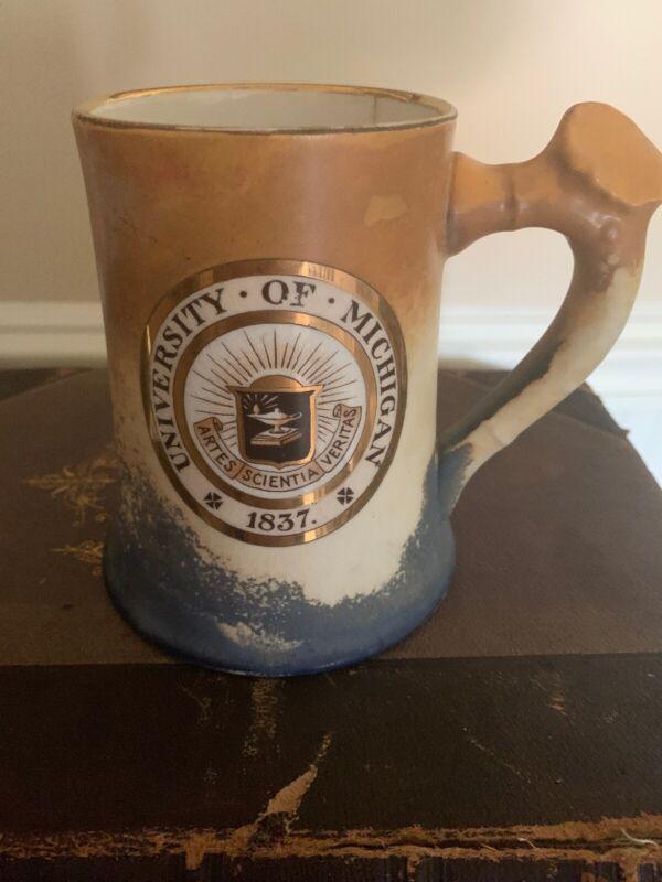 Antique University Of Michigan National Art China Co Rare Football Mug