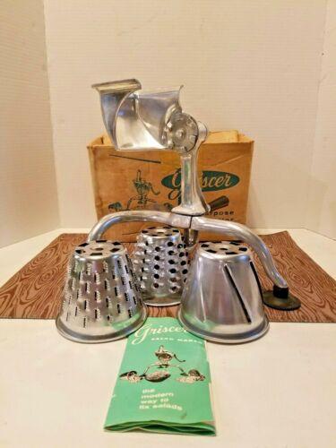 Vintage Griscer Salad Shredder 3Blades Clamp & Suction Cups, Box & Instructions