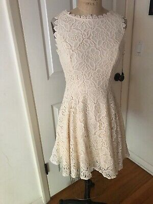 City Triangles Dress A-line Sleeveless Lace Cream Prom Party NEW size 7 Jr. NWT