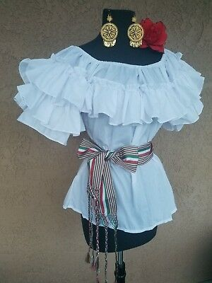 (MEXICAN BLOUSE FIESTA,5 DE MAYO,WEDDING  ON/OFF SHOULDER MEDIUM SASH)