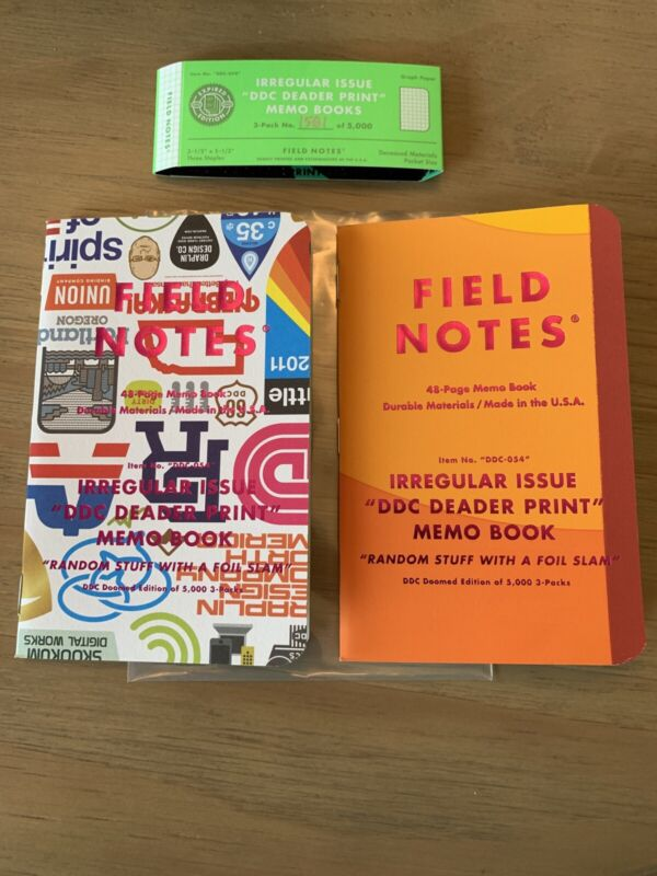 Field Notes Irregular Issue Deader Prints 2 Unsealed Notebooks + Band 1581/5000