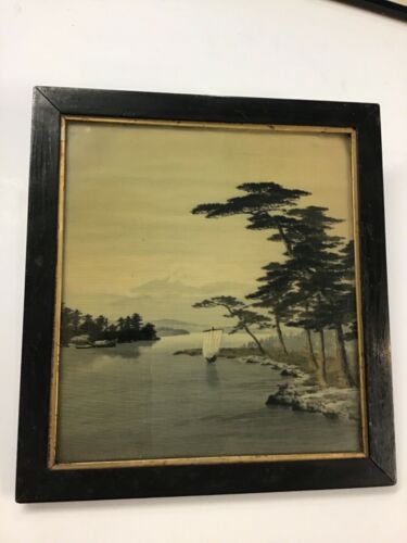 Antique Japanese Painting On Silk Mt. Fuji & Sailboats