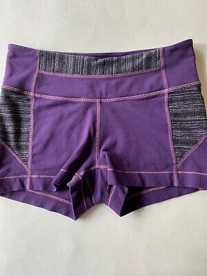 Athleta Shorts S Purple Marled Stretch Active Shortie Shorts Running Yoga Fitted